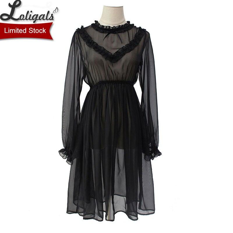 Vestido de gasa pura dulce vestido negro de manga larga por Alice Girl ~ Stock limitado