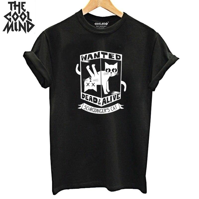 COOLMIND 100% cotton short sleeve Schrodinger's Cat women T shirt casual summer loose women Tshirt o-neck cool t-shirt tee shirt