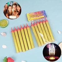 6 pcsbag birthday cake candles multi color bar festival party fireworks cake decoration candle wedding party