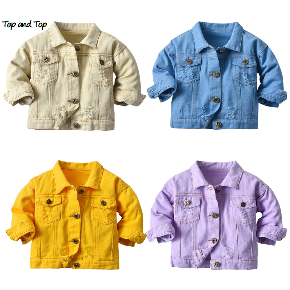 aliexpress - top and top Fashion Kids Girls Casual Breaken Denim Jacket Children boys Trench Coat Toddler Holes Outerwear Cowboy Clothing