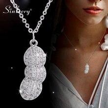 SINLEERY, collar con maní colgante, collar de perlas de Color plata de China en el interior de cristal, collares para mujeres, joyería de moda XL164 SSG