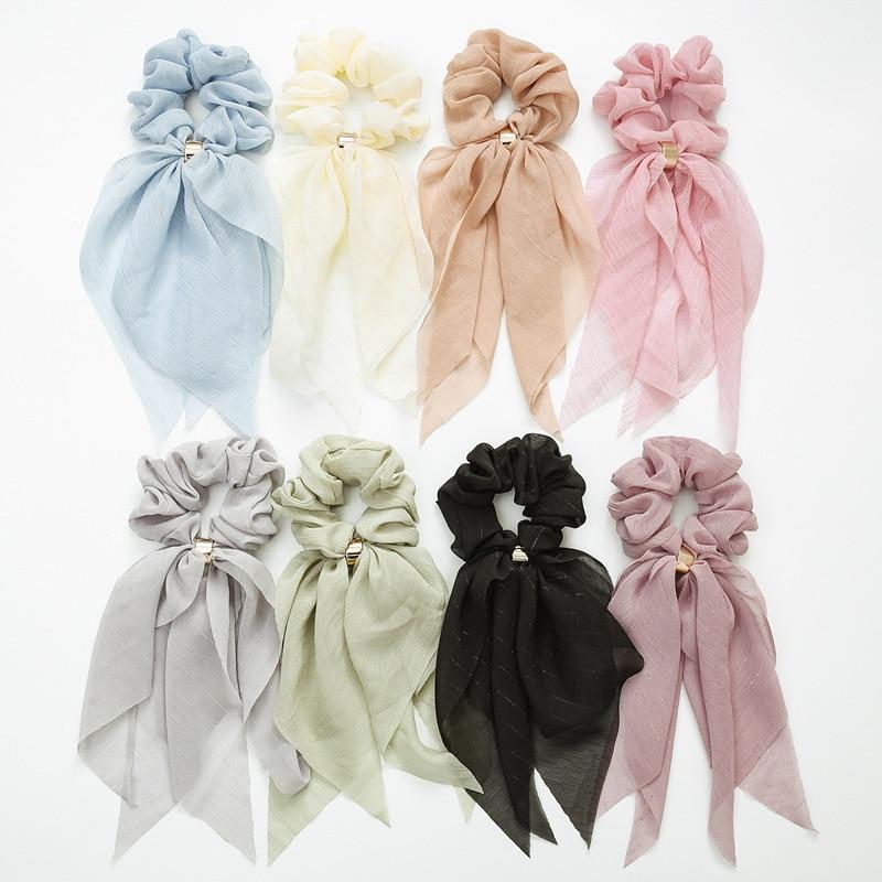 New Ribbons Designs Hair Scrunchies For Girls Women Elastic Hair Tie Soft Vintage Scarf Scrunchy Female Hair Accessories