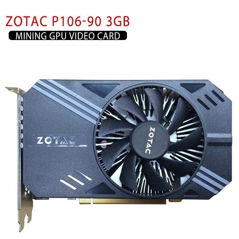 Video Card For ZOTAC P106-90 3GB Mining GPU Video Card GTX 1060 GDDR5 PCI Express 3.0 6-Pin PCI-E PC