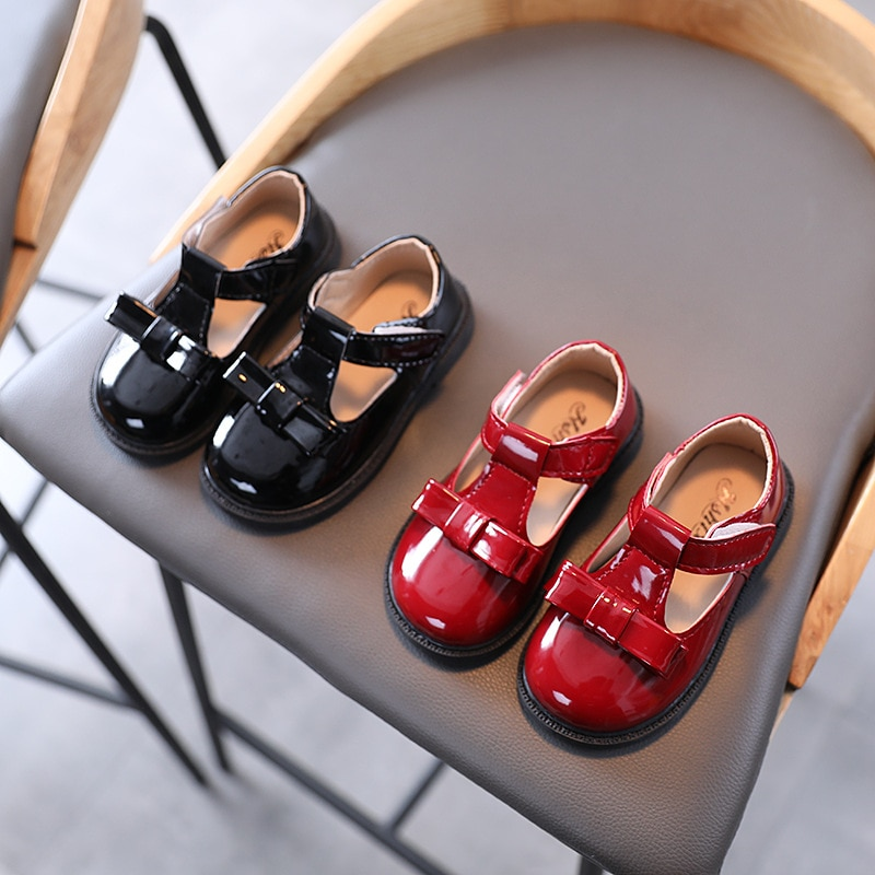 2021 New Spring Little GIrl Mary Jane Shoes Patent Leather Kids Dress Shoes Anti-slippery Cute Butterfly-knot Flat Shoes D12192