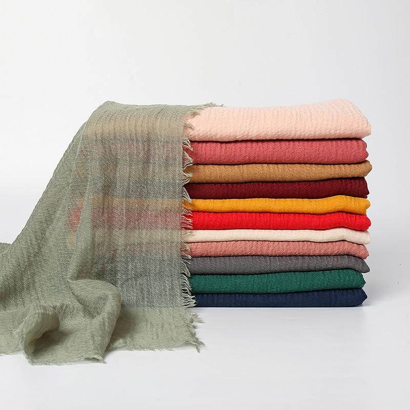 Nuevo Mantón largo de algodón de Color liso, bufanda de las mujeres...