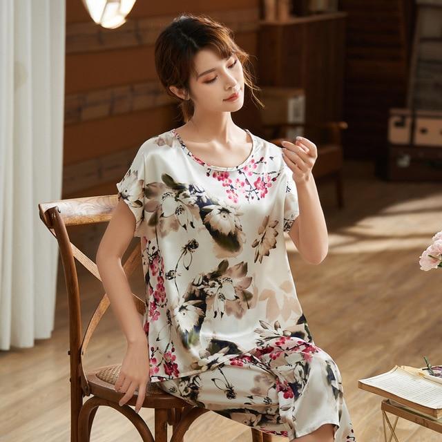 Pijama de mujer Faxu Silk Plus, ropa de casa de gran tamaño para mujer, Jersey, Pijama femenino, Pijama holgado con flores