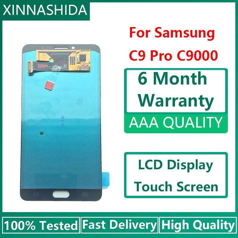 [해외] 100% 삼성 갤럭시 C9 프로 C9000 화면 슈퍼 아몰레드 Lcd 디스플레이 터치 스크린 디지타이저 교체용 신제품, 테스트 완료