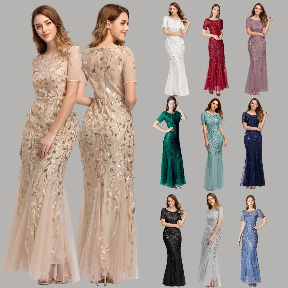Plus Size Evening Dresses Mermaid O Neck Short Sleeve Lace Appliques Tulle Long Party Gown Robe Soiree  Formal Dress vestido
