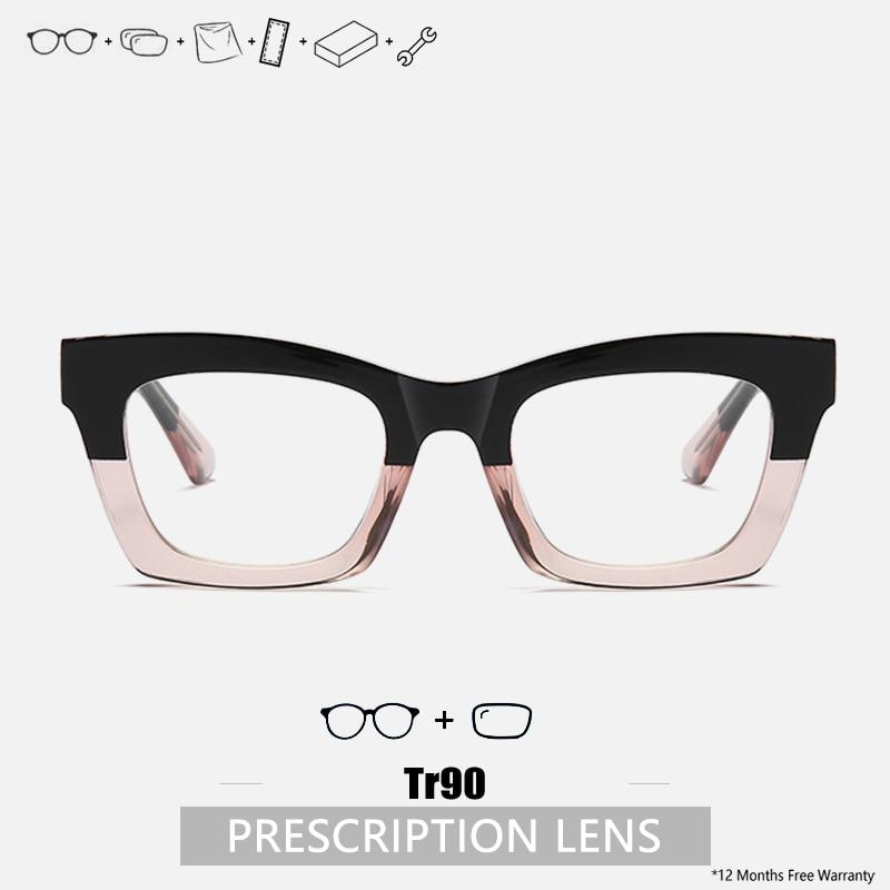 Designer Prescription Glasses women Progressive Glasses Multifocal Acetate Optical Clear square Eyeg