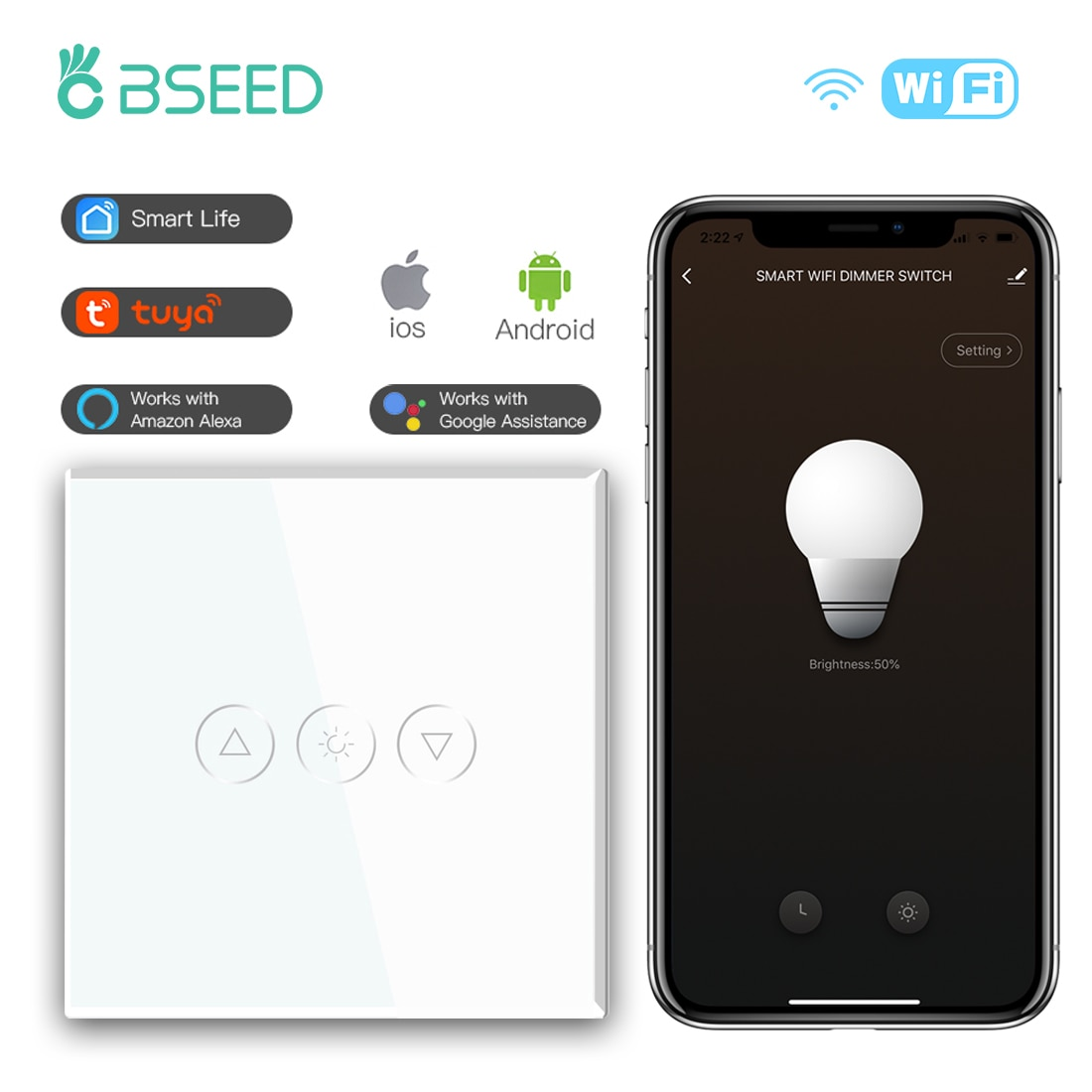 BSEED Smart Dimmer Switches 1Gang Wifi Control Led Dimmer White Black Gold Glass Panel Support Tuya Google Smart Life App