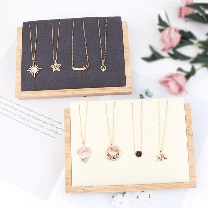 Бамбуковая древесина/искусственная кожа ожерелье кулон стенд держатель для женщин ювелирные изделия стенд держатель