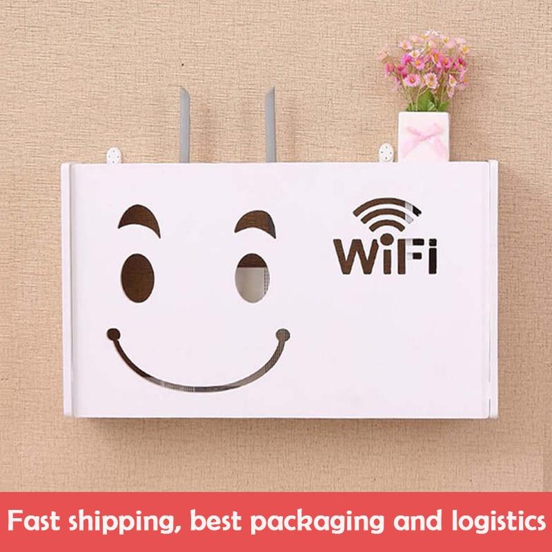 New Wifi Router Shelf Storage Boxes Cable Power Plus Wire Bracket Storage Box Wood-Plastic Wall Shelf Hanging Plug Bracket Box