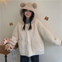 2021 Winter New Lamb Wool Coat Women Short Korean Style Cotton-Padded Jacket Fleece-Lined Thick Hood