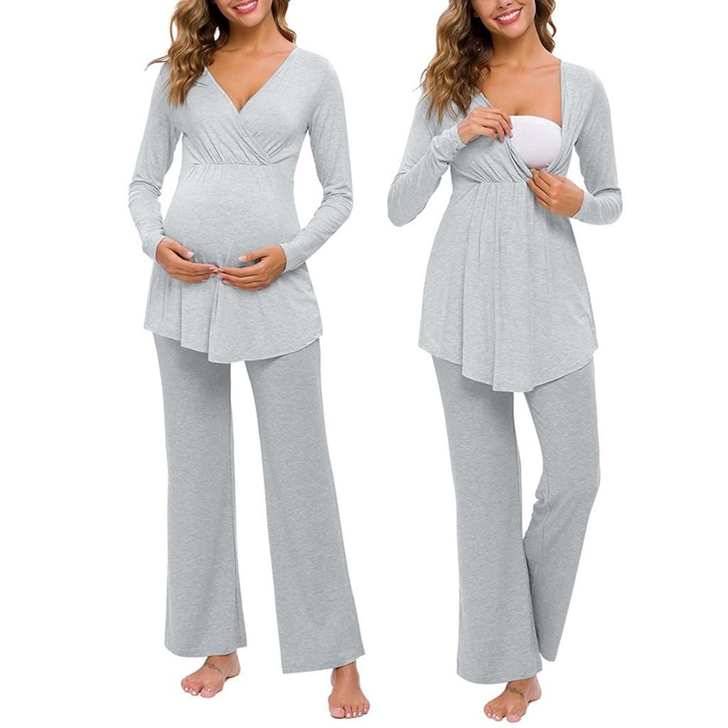 Women Clothes 2021 Maternity Long Sleeve Pajamas Set Nursing Baby T-Shirt Tops+Adjustable Pants Pajamas Set Embarazada Pregnancy