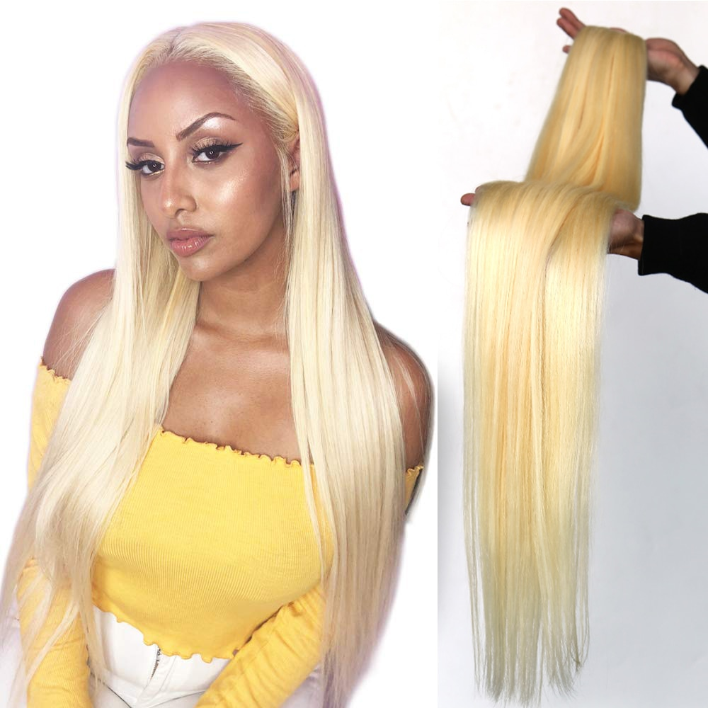 Liweike 613 pacote peruano feixes de cabelo humano tecer cabelo remy 30 32 38 40 Polegada pacotes cabelo longo em linha reta loira pacotes