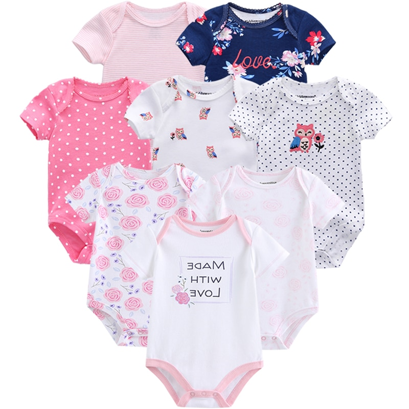Комбинезон для маленьких девочек, комплект из 8 предметов, летние комбинезоны с коротким рукавом для новорожденных мальчиков, хлопковый комбинезон для младенцев, комбинезон с мультяшным принтом, одежда для малышей|Комплекты одежды| | АлиЭкспресс