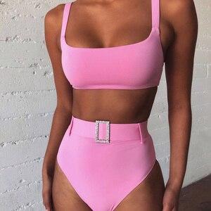 High Waist Bandeau Bikini Swimwear Women Push Up 2020 Sexy Backless Solid Brazilian Swimsuit With Belt Summer Bathing Beach Suit