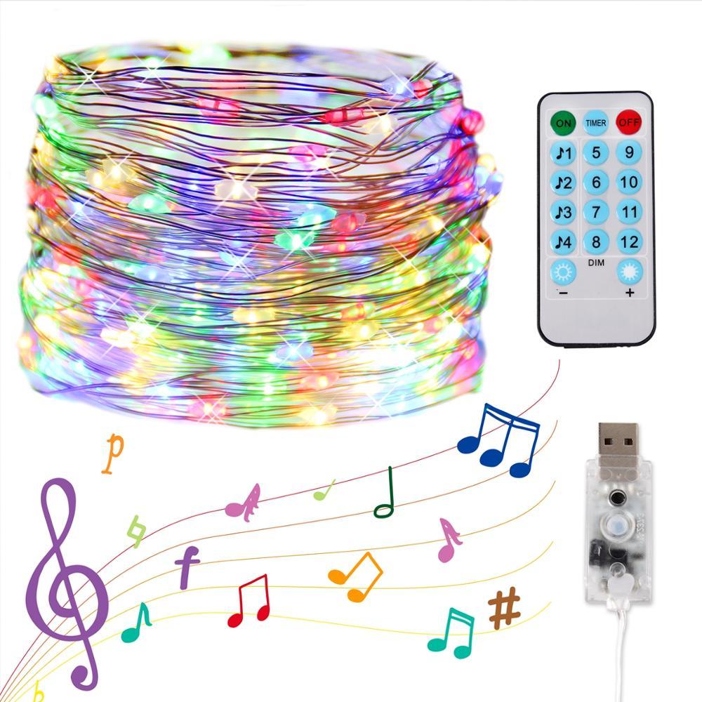 USB sonido activado LED de música Luz de adornos navideños para el...