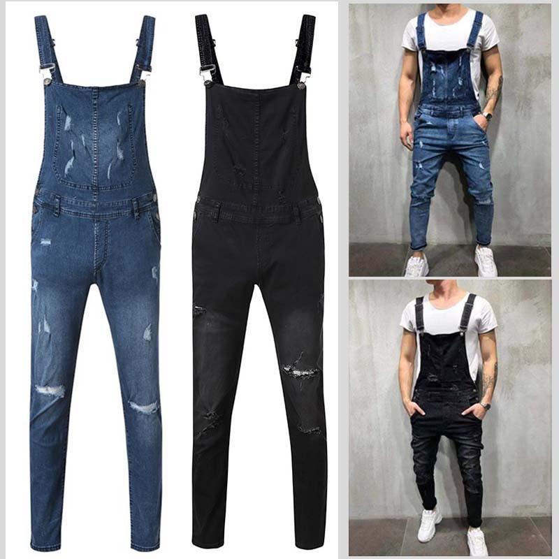 Модные мужские джинсы Hi Street, джинсовые подтяжки с ремешками, Новая рабочая одежда, комбинезоны, повседневный комбинезон из потертого денима...