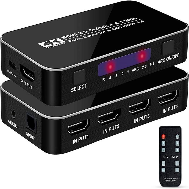 HDMI-compatible switcher 4 cut 1 band audio separation ARC 4K 60 HZ HDMI-compatible4X1 switcher