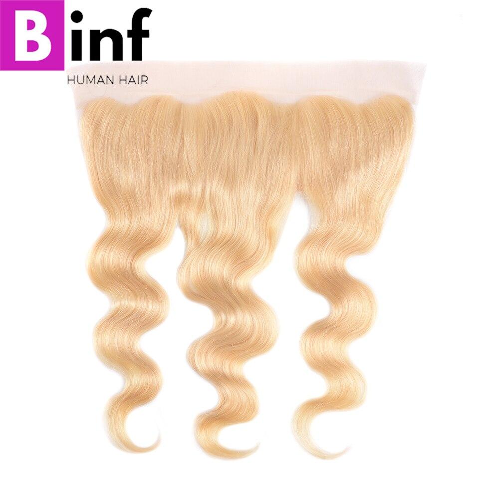 BINF brasileño 613 onda frontal del cuerpo 13x4 Cierre Frontal transparente encaje suizo 100% Remy cabello humano línea de cabello Natural la parte libre
