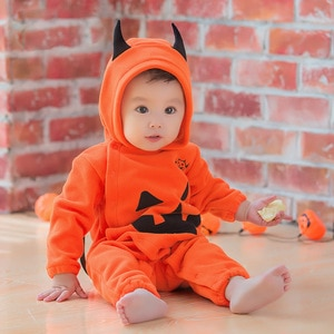 Halloween Romper Baby Boys Girls Warm Clothing Winter Pumpkin Long Sleeve With Hooded Performance Costume 2021 New