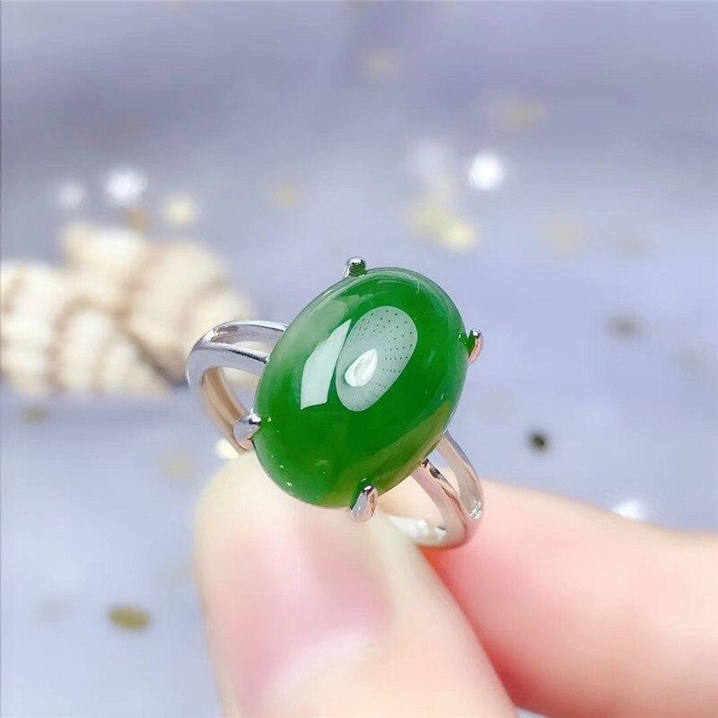 Anillo de jaspe verde Natural LeeChee para mujer, regalo de cumpleaños, joyería fina de Jade de 10*14MM, uso diario para señora de oficina, Plata Real 925