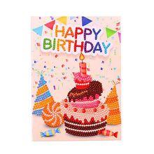 DIY 5D Diamond Painting Happy Birthday Invitation Greeting Card Kit Round Stitch Embroidery Set Q6PE