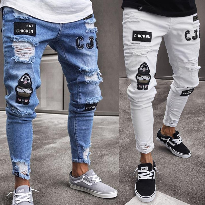 Fashion Men Ripped Stretchy Skinny Biker Embroidery Print Jeans Destroyed Hole Taped Slim Fit Denim Scratched High Quality