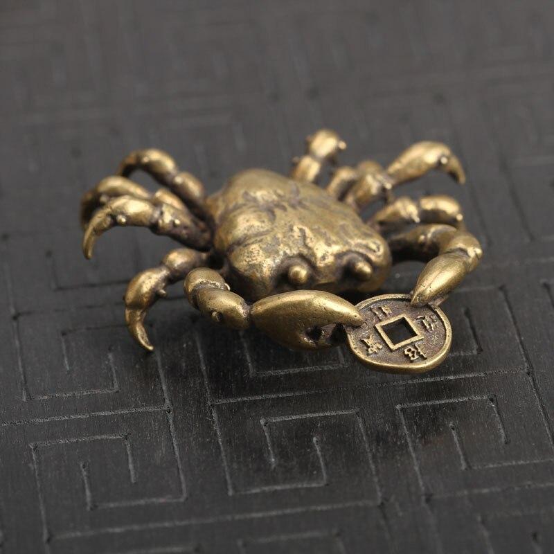 Латунный Краб китайская антикварная Статуэтка для монет фэн шуй Орна мужские ts, приносящий удачу, украшение для дома, мужские подвески для ключей