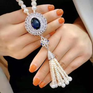 Women's jewelry 8-9mm 70 15cm micro inlaid zircon accessories white freshwater pearl necklace tassel long sweater chain