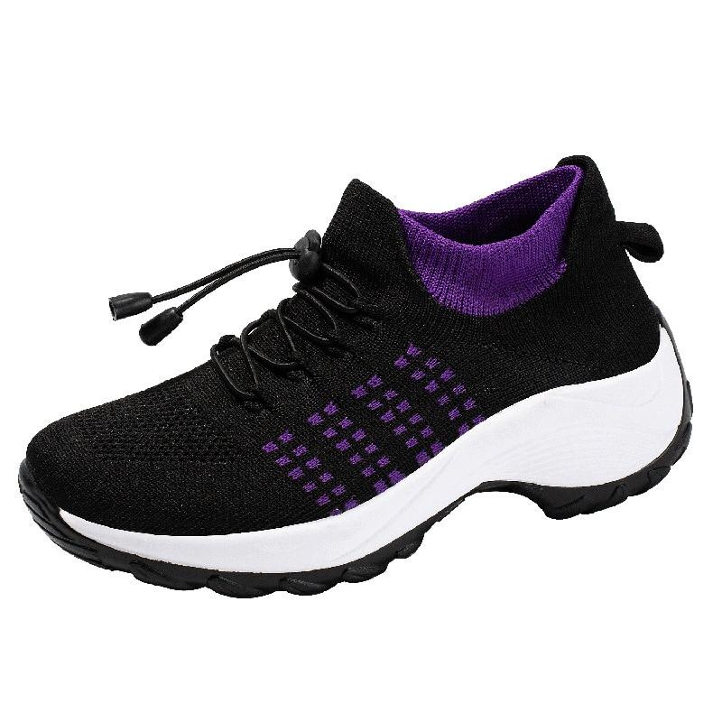 Женские кроссовки Koovan, обувь для мам, носки-качалки, обувь, повседневная Летающая плетеная сетчатая спортивная обувь на платформе со шнуров...