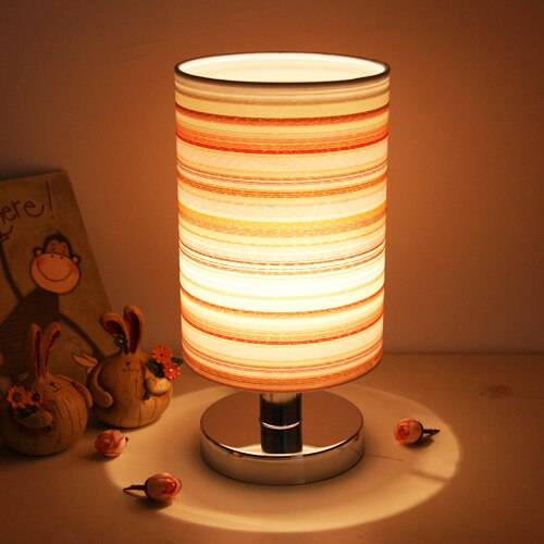 Lámpara de mesita de noche de tela para dormitorio de niños, luz...