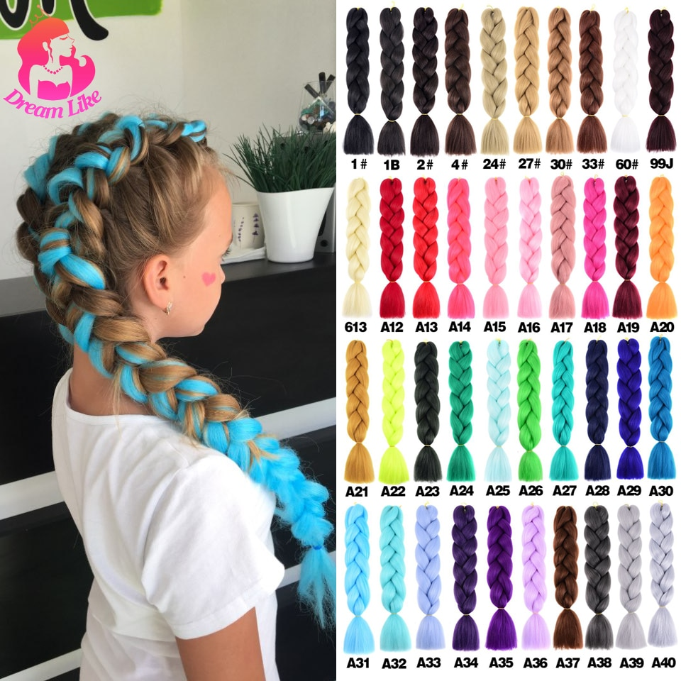 Dream Like Jumbo Braid Hair 24inch Pure/Ombre Color Synthetic Braiding Hair Kanekalone Extensions He