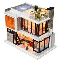 diy dollhouse wooden doll houses miniature doll house furniture kit casa music led toys for children birthday gift