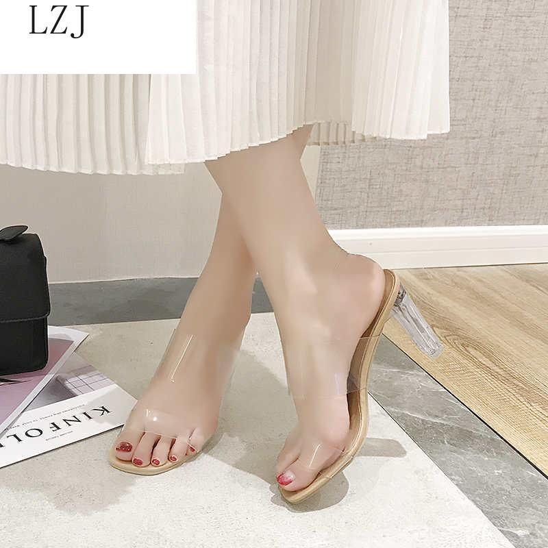 Sapatos de Salto Bombas de Casamento Quente Claro Chinelos Mulher Sandálias Verão Transparente Alta Jelly Buty Damskie Salto Alto 2021
