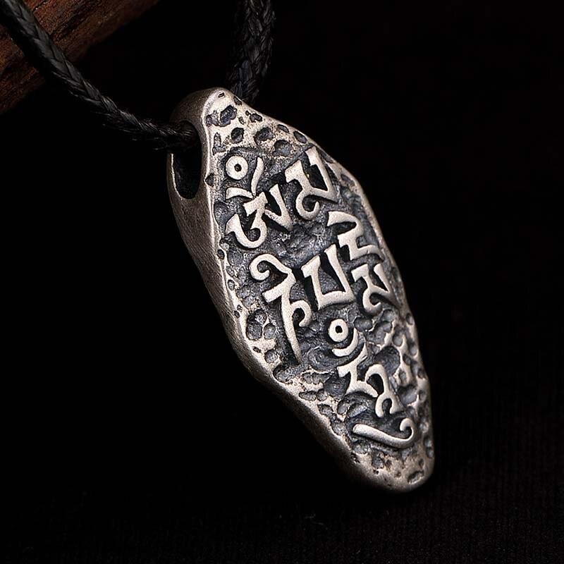 Collares de plata de ley 925 con colgante de seis palabras para Budismo, collares de amuleto de Sánscrito vajry