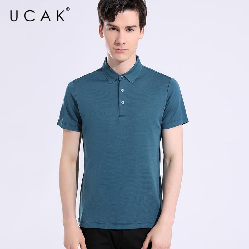 UCAK Brand Classic Turn-down Collar Short Sleeve Pure Silk T Shirt Summer New Tops Streetwear Solid Color TShirt Men Homme U5640