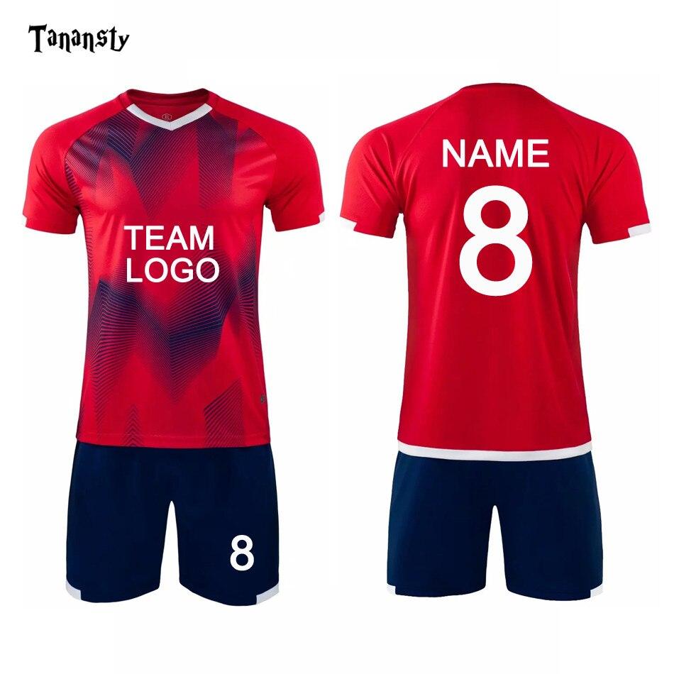 DIY Jerseys fútbol uniforme adulto Deporte Pantalones cortos traje grande deportes personalizar tela hombres uniforme de fútbol transpirable camisa de alta calidad