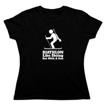 Biathlon comme le ski mais avec un pistolet femmes nouveauté T-Shirt coton manches courtes T-Shirt