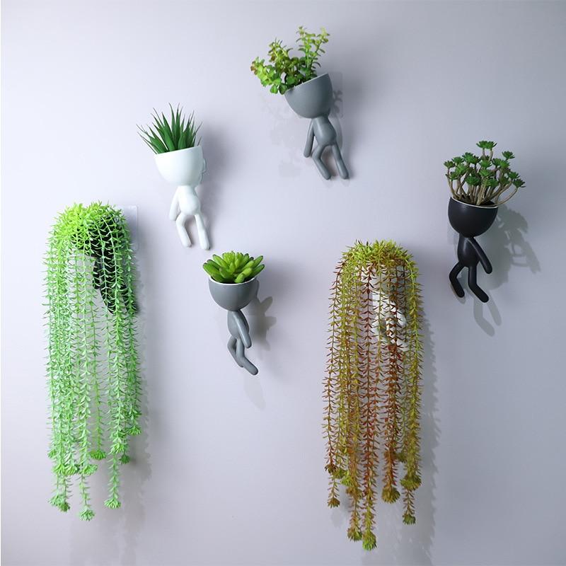 Настенная подвесная картина, ваза с изображением лица человека, цветочный горшок, креативная абстрактная скульптура, злодей, портрет персонажа, растение, горшок, украшение