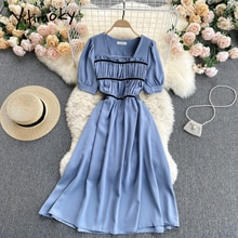 Yitimoky High Waist Dresses Women Folds Puff Sleeve Square Collar Solid Blue White A-Line Clothes 20