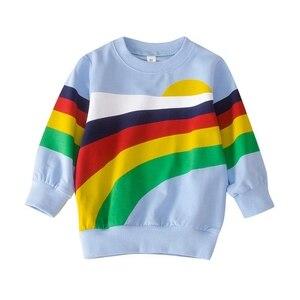 Autumn Kids Girl Boy Rainbow Print Sweatshirts Casual Blouse Long Sleeve Outerwear Children Cartoon Tops Shirt
