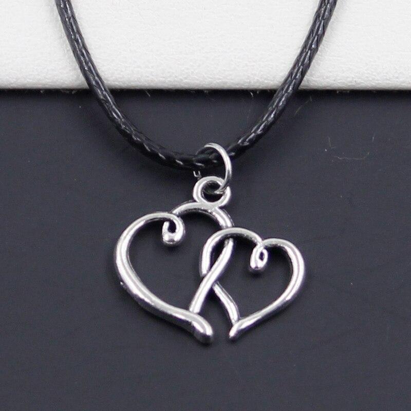 Moda podwójne serca tybetański srebrny kolorowy wisiorek naszyjnik Choker urok czarny skórzany sznur cena fabryczna Handmade prezent
