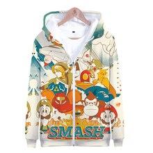 Mens Coat Super Smash Bros. Ultimate 3D Smash Zipper Hoodies Sweatshirt Fall Warm jacket Game Harajuku Leisure Children Coat