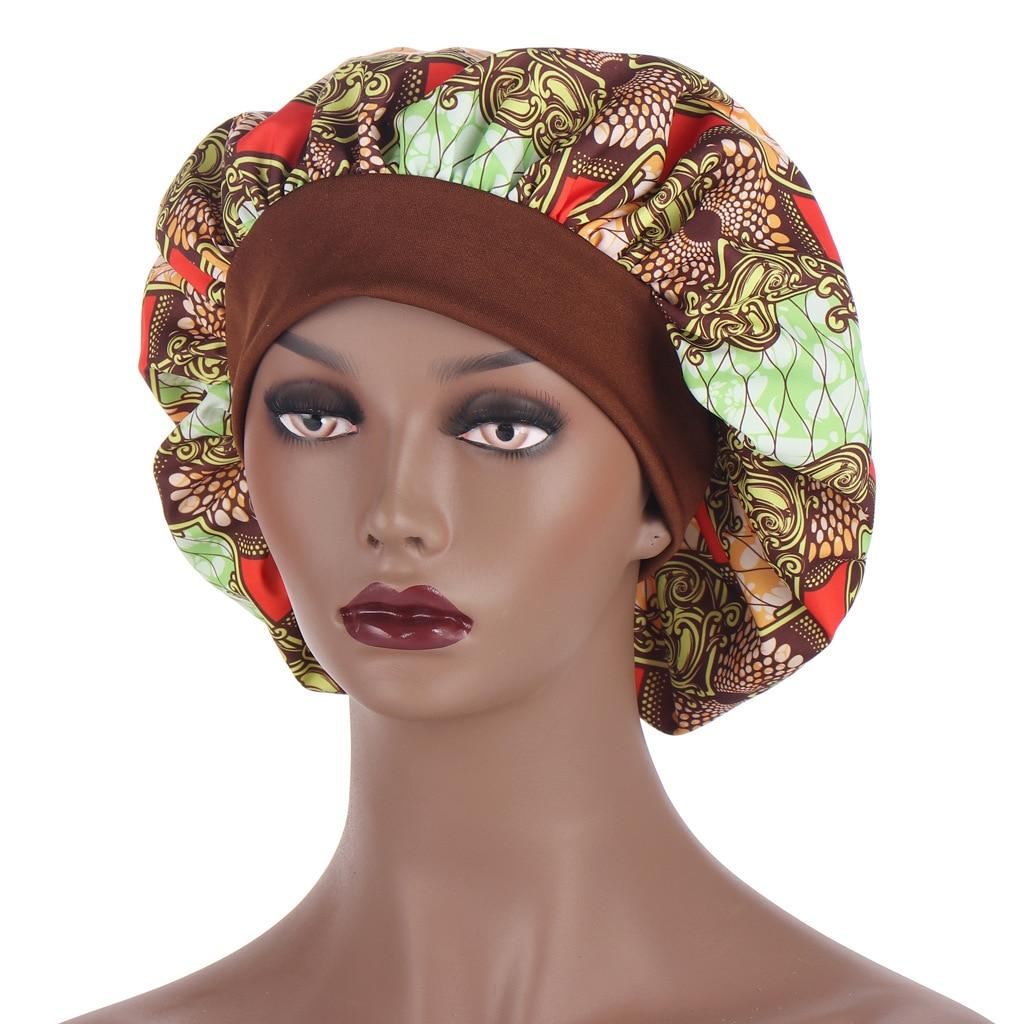 Large Satin Bonnet Women Sleep Night Hat cap Elastic Bonnet Hat For Hair Care Head Cover Beanies Wit