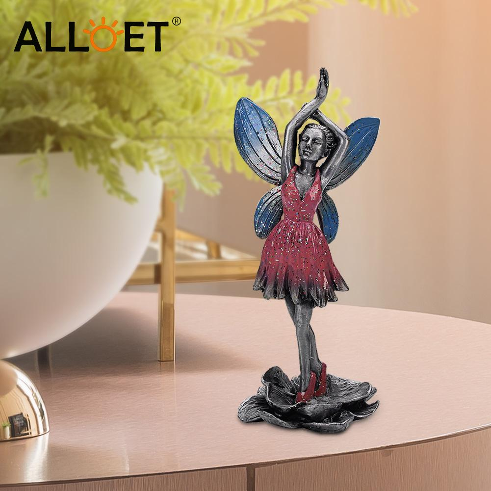 Metal Flower Fairy Sculpture Decorative Art Craft Statues Electroplating Alloy Statue Room Figurine Garden Ornament