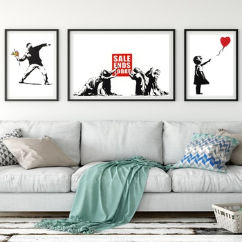 Nordic characters canvas painting girl and red balloon mural Banksy Art Poster living room bedroom bar home decoration mural