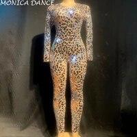 sexy stage silver mirrors jumpsuit mesh dance costume women stage performance dance net yarn bodysuit sexy nightclub jumpsuit