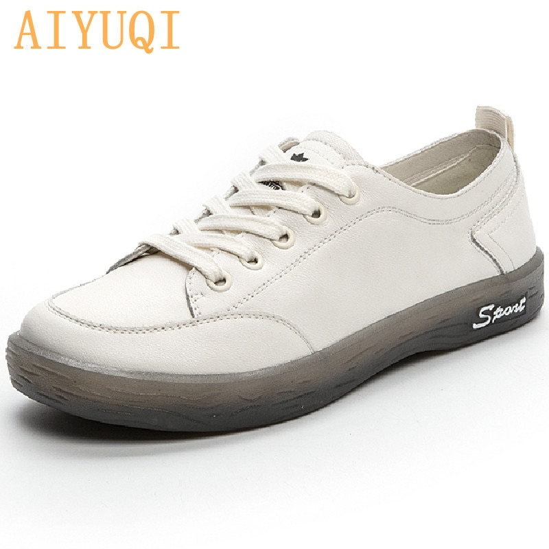 AIYUQI Sneakers Shoes women Genuine Leather Casual All-match White Shoes Women Flat Large Size Non-slip Loafers For Girls